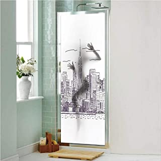 New York 3D No Glue Static Decorative Privacy Window Films, Sketchy Simple View of NYC Statue of Liberty Freedom Symbol Ellis Island Print,24