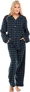 Alexander Del Rossa Women's Warm Flannel Pajama Set, Long Winter Button Down Cotton Pjs