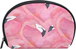 ALAZA Pink Flamingo Half Moon Cosmetic Makeup Toiletry Bag Pouch Travel Handy Purse Organizer Bag for Women Girls