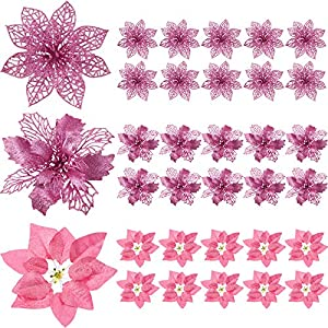 30 Pieces Glitter Poinsettia Artificial Christmas Tree Ornament Christmas Flowers for Xmas Valentine's Day Spring Festival Wedding Decorations (Pink)