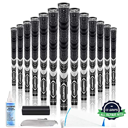 Champkey MCS Golf Grips Set of 13 (5 Oz Solvent,Blade,15 Tapes & Vise Clamp Available)-Choose Between 13 Grips & All Repair Kits and 13 Grips & 15 Tapes (Black/Black(Repair Kits Included), Midsize)