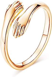 7mohugme 925 خواتم الفضة الاسترليني للنساء الفتيات الفضة تعانق اليدين مفتوحة مجوهرات عناق اليدين بيان خواتم الزفاف