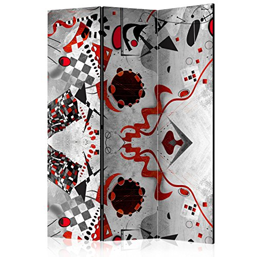 murando Paravento Calcestruzzo Astratto Kandinsky 135x172 cm cm Stampa unilaterale su Tela in TNT Parete Divisoria Interno Separatore Stanza Pieghevole Decorazioni l-A-0030-z-b