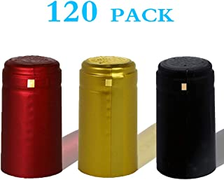 BGMAXimum PVC heat shrink capsules 120 count 3 colors wine shrink wrap wine bottle corks capsules for professional, wine cellars and home use - black, red, gold