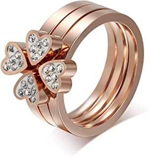 VNOX Women's Stainless Steel Love Heart Four-Leaf Lucky Clover Rhinestone Ring 3 in 1,Rose Gold Plated