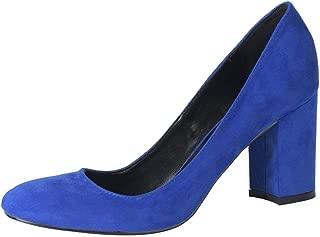 Jiu du Women's Classic Closed Toe Slip On Chunky Block Heel Pumps Dress Shoes Blue Velvet Size US8.5 EU39