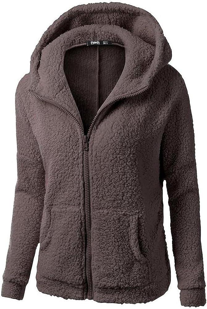 Women's Fleece Teddy Coats Winter Hooded Zip Up Button Cardigans Coat Long Sleeve Pullover Outwear Jackets with Pockets