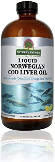 Nature's Answer Cod Liver Oil Liquid Supplement, 16-Fluid Ounces | Promotes a Healthy Heart & Brain | Cognitive and Cardio...
