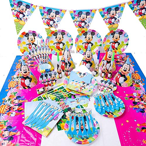Birthday Party Decoration set of 6x Including cutlery, napkins cups, plates, hats, bunting, banners and table cover