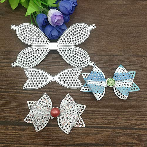 2pcs Lace Bow Tie Metal Die Cuts,Christmas Bowtie Hair Bow Clip Cutting Dies Cut Stencils for DIY Scrapbooking Decorative Embossing Paper Leather Scrapbooking Card Making