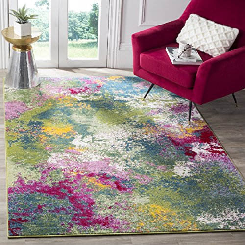 Safavieh Water Color Collection WTC697C Green and Fuchsia Area Rug, 4' x 6'