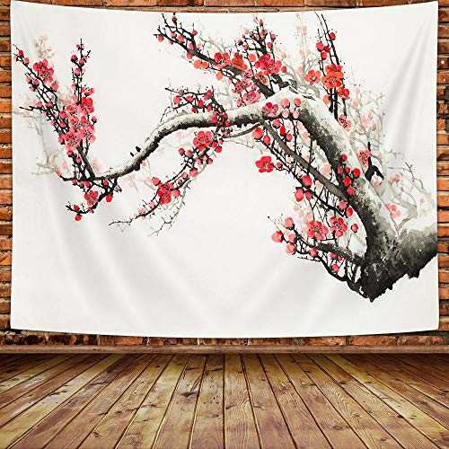 MERCHR Cherry Blossom Shower Curtain, Japanese Asian Art Red Floral Fabric Sakura Plum Blossom Bath Curtain with Hooks, Decorative Flower Shower Curtain for Bathroom, White 69X70 Inches