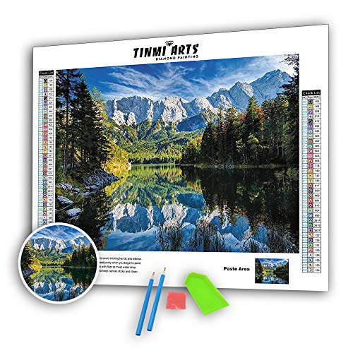 TINMI ARTS 5D Landscape Tree Diamond Painting Kits Paint by Numbers Full Round Drills Rhinestones DIY Mosaic Cross Stitch Embroidery Handcrafts Arts Crafts Home Decor(15.75''x 11.81'')