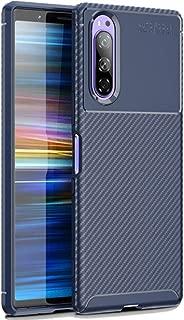 FINON Carbon Design Model [ TPU ] for Sony Xperia 5 (2019) Case - Fingerprint Prevention Function and Lightweight Soft case, Shock Resistance, Easy desorption, Stylish Design - Blue