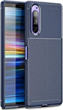 FINON Carbon Design Model [ TPU ] for Sony Xperia 5 (2019) Case - Fingerprint Prevention Function and Lightweight Soft case, Shock Resistance, Easy desorption, Stylish Design - Blue