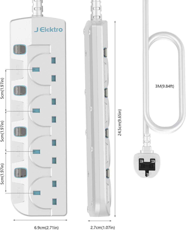 Black J Elektro Power Strip Multi-Sockets 4 Way Outlets Extension Socket Multi-Plug with 1.8M//5.9FT Extension Cord Extension Lead with Individual Switches