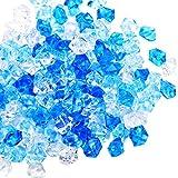 300 Rocas Cristales de Hielo Acrílico, Hielo Falso Azul de 1 Pulgada Rocas Trituradas Falsas Diamantes Falsos Cubitos de Hielo de Plástico Hielo Transparente Acrílico Gemas de Cubitos Falsos