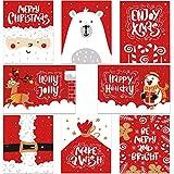 Confezione da 48 di biglietti di auguri sfusi di Natale - Ohuhu Natake Inverno Felici Vacanze Biglietti di auguri di 6 disegni con buste e adesivi di ringraziamento, 10 x 15 cm