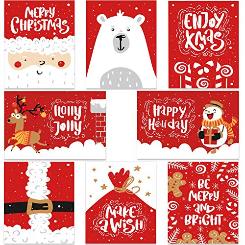 48-Pack Merry Christmas Cards Bulk Box Set- Ohuhu Xmas Winter Happy Holiday Greeting Cards of 8 Designs with Envelopes and Merry Christmas Stickers, 4 x 6 Inches
