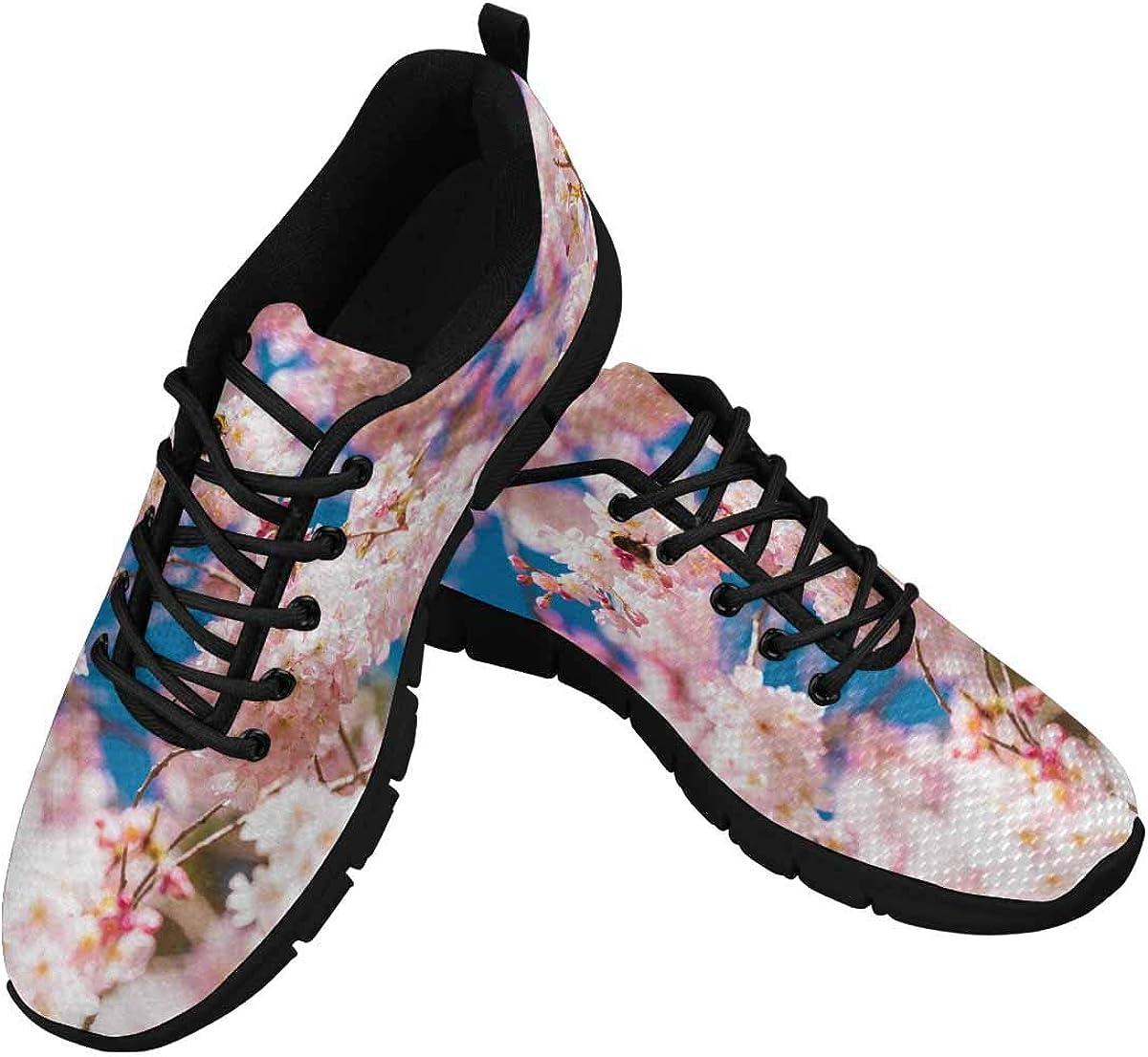 INTERESTPRINT Cherry Blossom in Spring Time Women's Athletic Walking Shoes Comfort Mesh Non Slip