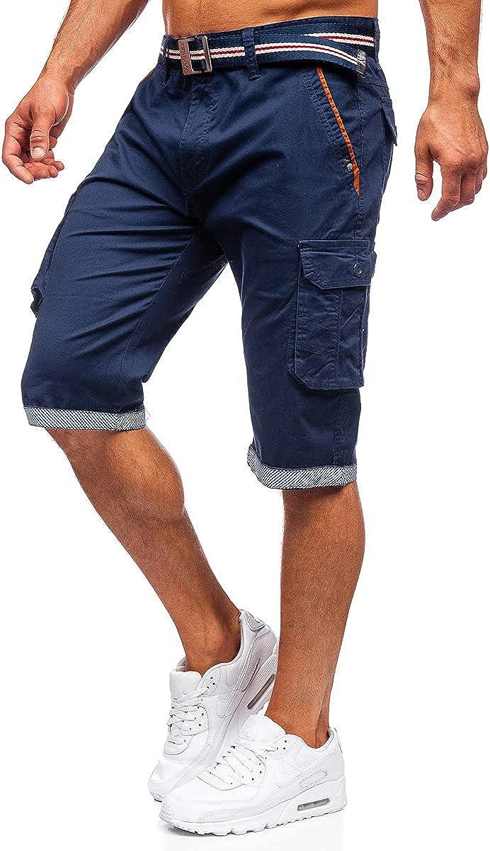 BOLF Hombre Pantalón Corto Cargo con Cinturón Shorts Bermudas Básicos Pantalón de Algodón Deporte Outdoor Ocio Estilo Urbano Mix 7G7