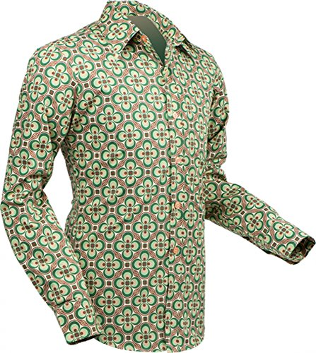 Chenaski 70er Jahre Hemd Dotsgrid Creme-Green Size M