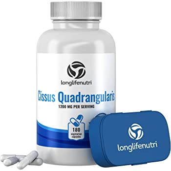 Cissus Quadrangularis Extract | 180 Vegetarian Capsules | Supplement for Rebuild Joint and Tendon Support | Reduces Pain | Promotes Bones Structure Plus Cartilage Ligament Repair | 1200 mg Powder Pill