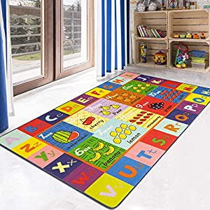 HEBE Kids Rugs Educational Learning Area Rug Carpet for Kids Children Anti Skid Backing Daycare Rug Washable Children Play Mat for Nursery Classroom Kidsroom 3'4″x5′