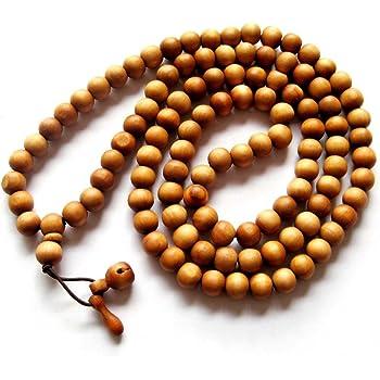 OVALBUY 10mm 108 Wood Beads Tibetan Buddhist Prayer Meditation Mala Necklace