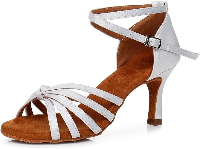 XIAOY Satin Chaussures de Danse Latine Femme Noir Bout Pointu Soft Soles Boucle Talons Hauts