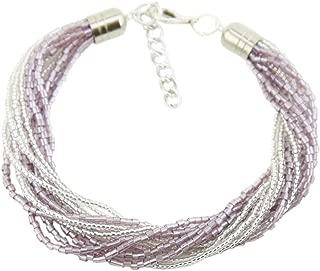 GlassOfVenice Murano Glass Gloriosa 12 Strand Seed Bead Bracelet - Silver Purple