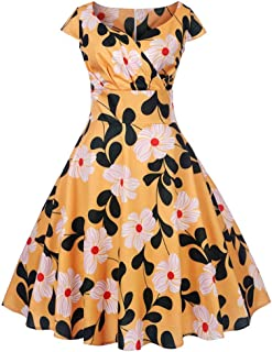 007XIXI Prom Dresses 2 Piece,Women Vintage 1950s Retro Short Sleeve V-Neck Printing Party Prom Swing Dress