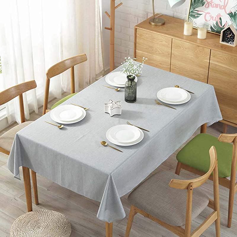 Jizzr Solid Color Cotton Linen Tablecloth Waterproof Washable Rectangle Fabric Table Cover For Wedding Party Kitchen Christmas Decoration Light Grey 47 X 63