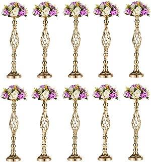 Nuptio Versatile Metal Flower Arrangement, Candle Holder Stand Set Candelabra for Wedding Party Dinner Centerpiece Event Restaurant Hotel Decoration (Twist Style, 10 x L)