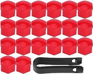 EVGATSAUTO Radnabenabdeckung, 20 tlg. 17 mm Universal Radmutternschraube Schraubabdeckungen Reifenschutzkappen(Red)