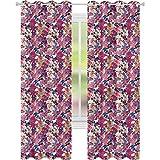 jinguizi Cortinas opacas con aislamiento térmico, pintura superpuesta, pétalos y hojas, 52 x 72 de ancho x 72 de largo