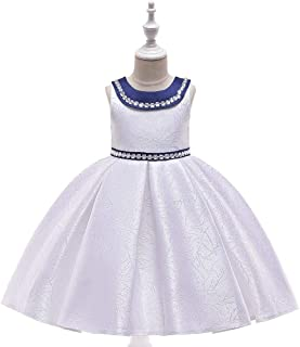 SEASHORE Princess Skirt Girl Bow Holiday Party Satin Flower Girl Wedding Performance Piano Costume 4-12 Years Old (Color : White, Size : 6-7T)