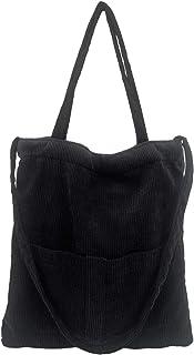Ulisty Damen Große Cord Schultertasche Lässige Handtasche Mode Einkaufstasche Umhängetasche schwarz