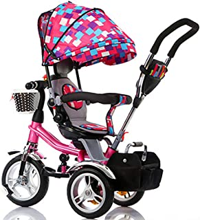 WSJWINE Trikes for Toddlers, Kids Trikes with Parent Handle 4 in 1 Tricycle Smart Trikes with Seat Belts Baby Stroller Pushchair,Camouflage