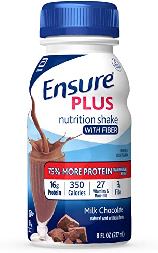 Ensure Plus Nutrition Shake With Fiber, 24 Count, With 16 Grams of High-Quality Protein, Meal Replacement Shake, Milk...