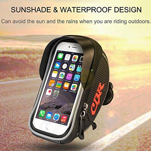 Furado Rahmentaschen, Fahrradtaschen Fahrrad Rahmentaschen für Smartphone bis zu 6 Zoll, Wasserabweisende Fahrrad Handyhalterung für alle Fahrradtypen, Fahrradtasche Rahmentaschen - 5