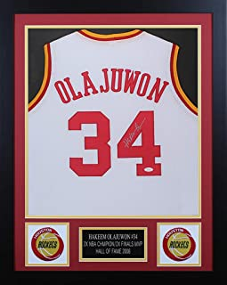 Hakeem Olajuwon Autographed White Rockets Jersey - Beautifully Matted and  Framed - Hand Signed By Hakeem 02dd62940