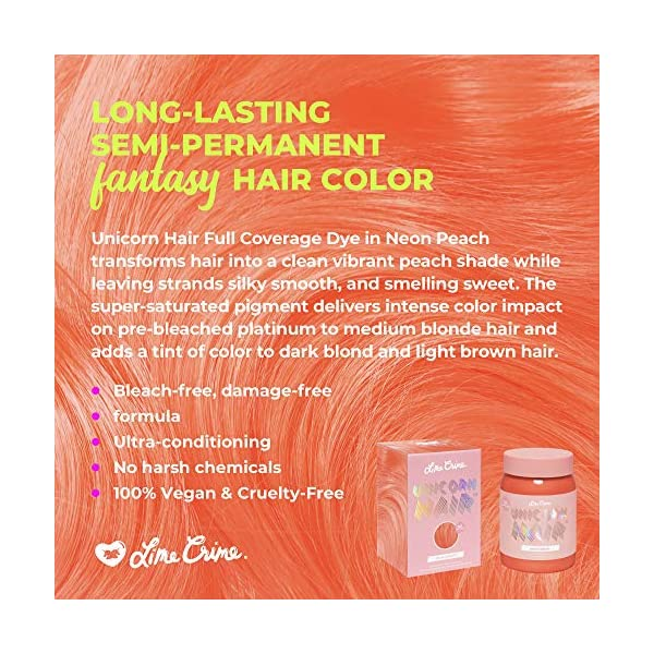 Lime Crime Unicorn Hair Dye, Neon Peach - Vibrant Peach Fantasy Hair Color - Full Coverage, Ultra-Conditioning, Semi… 5