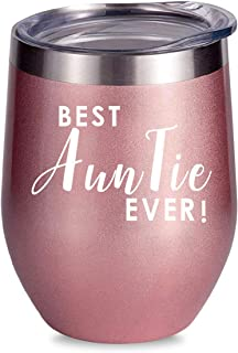ALISISTER Best Auntie Ever Wine Tumbler Insulated Coffee Mug Stainless Steel 3D Print Cup Copper With Lid 12Oz Funny Cold Stemless Glass Pink