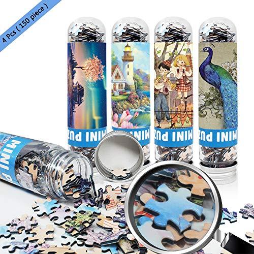 TOLLK LESSE Mini Reagenzglas Puzzle,Tragbares Puzzle für Erwachsene 4er Pack (150 Körner) Pocket Puzzle Kinder Spaß Puzzlespiel Jungen und Mädchen Dekompression Artefakt...