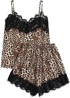 FWEIP Womens Satin Sling Shorts Sleepwear Fashion Girls Sexy Cute Lace Leopard Print Underwear And Shorts Pajama Set
