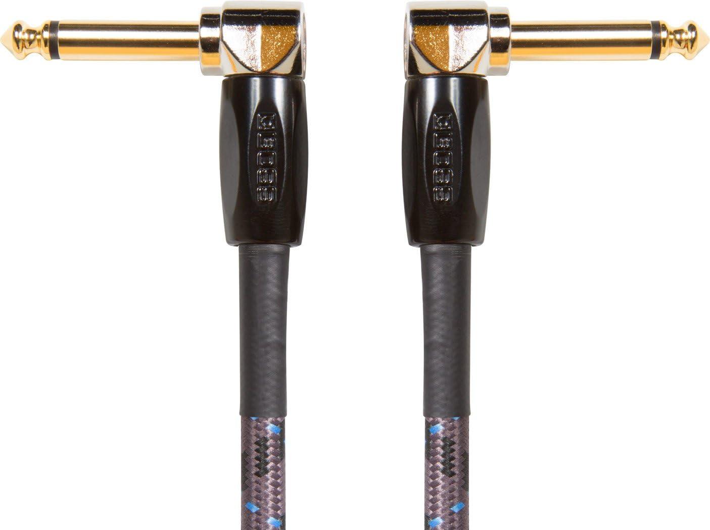 """Cavo BOSS BIC-1AA Patch/Pedali, Chitarra, Basso e Strumenti. Connettori angolo retto da 1/4"""", lunghezza 30 cm/1 ft."""