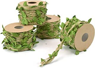 ZIIYAN 4 Rolls Artificial Vine Natural Hemp Rope Fake Green Ivy Leaves Foliage Leaf Plant for Macrame Wall Decor Garland Rustic Wedding Home Garden Decor Party Supplies, 16.5Ft/Roll, Total 66 Feet