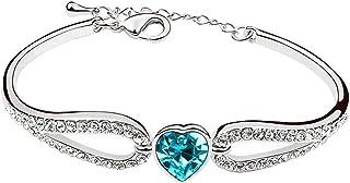 Karatcart Platinum Plated Blue Crystal Bracelet for Women