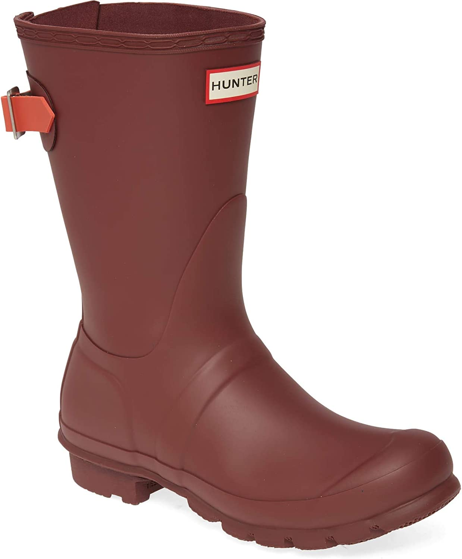 HUNTER Women's Original Short Back Adjustable Rain Boot Rumbling Red/Siren